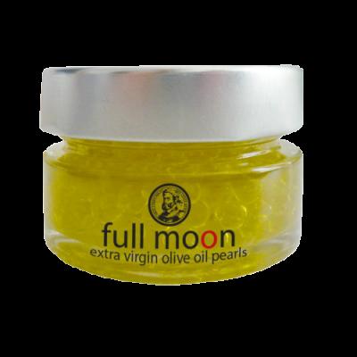 Full Moon. Perlas de AOVE. Perlas de aceite Arbequina.